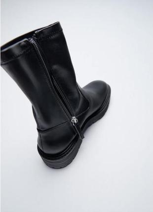 Черные ботинки на платформе/среднем квадратном каблуке зара/zara5 фото