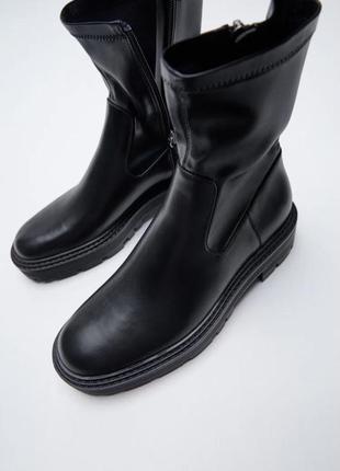 Черные ботинки на платформе/среднем квадратном каблуке зара/zara6 фото