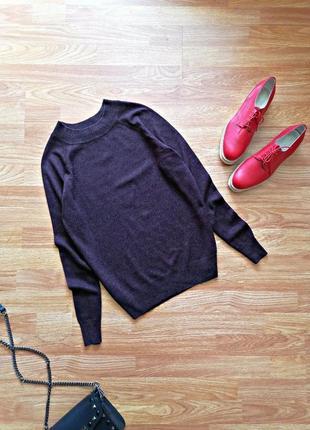 Женский натуральный брендовый фиолетовый джемпер - легкий свитер george - размер 46