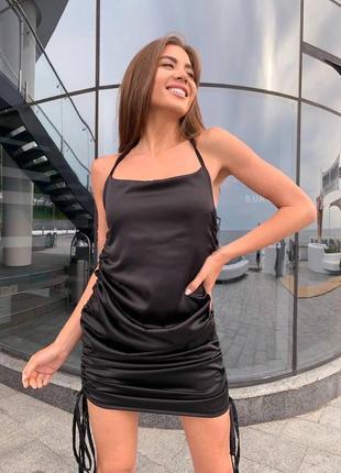Чёрное платье на затяжках , шёлковое