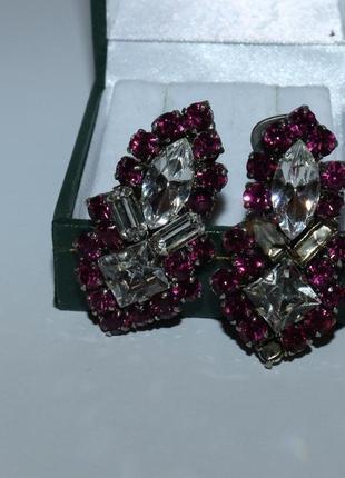 Шикарные клипсы кристаллы металл вес 12,9 грамм винтаж на восстановление