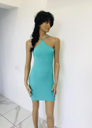 Трендовое мятное платье халтер из креповой ткани river island 1+1=3 на всё 🎁