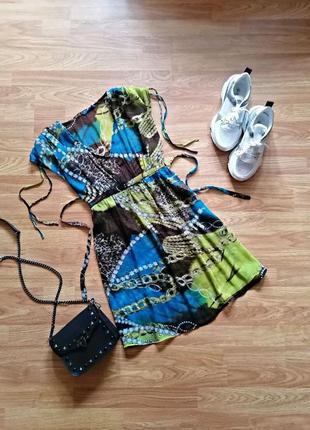 Женская легкая летняя пляжная натуральная шелковая туника - размер 44-48