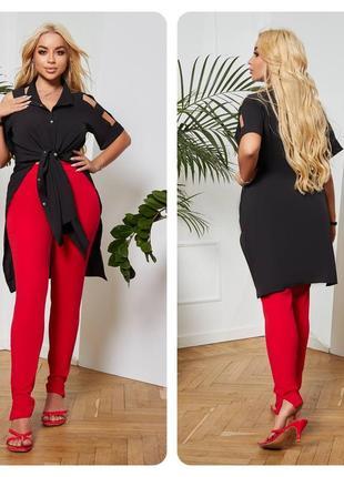 Стильный костюм черная длинная блуза и красные лосины больших размеров