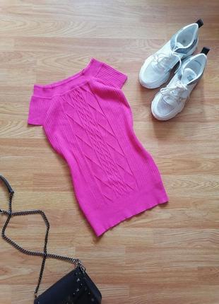 Женский натуральный вязаный малиновый розовый топ - кофточка - футболка - джемпер - размер 42-44