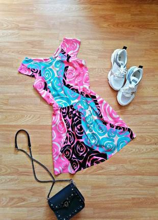 Женское легкое летнее розовое платье - сарафан в цветы exclusive - размер 44