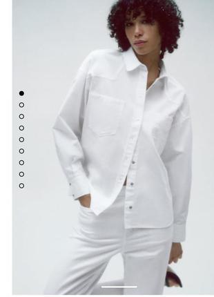 Новая женская джинсовая рубашка зара оригинал,новая коллекция, размер xl оверсайз белого цвета