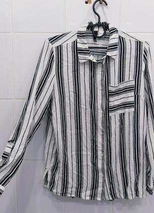 Стильная натуральная блуза рубашка в полоску
