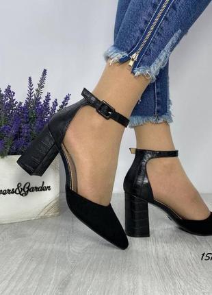 Чёрные туфли женские замшевые замша с ремешком экокожа кожаные кожа экозамш