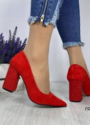 Туфли красные женские замшевые замша экозамша