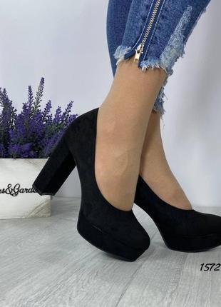 Туфли чёрные женские замшевые замша на платформе экозамш
