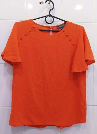 Апельсиновая шифоновая блуза с пуговками