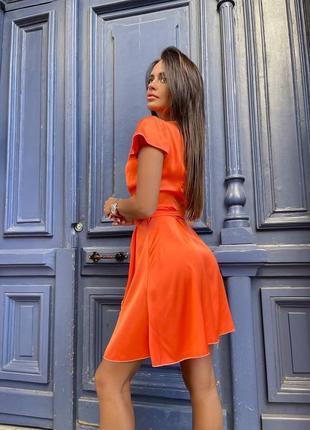Платье оранжевое на запах коралловое