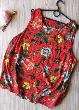 Натуральна красная блуза в цветочный принт