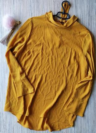 Актуальная горчичная блуза с бантом сзади