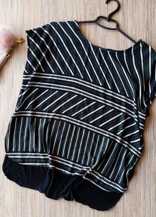 Красивая блуза в полоску с трикотажной спинкой