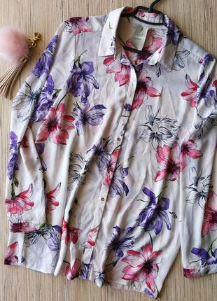 Милая шифоновая блуза рубашка в цветочный принт