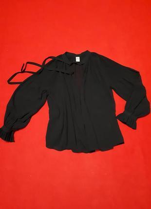 Блузка блуза с бантом черная гофрированная с широким рукавом с воланом оверсайз  р s-m -l