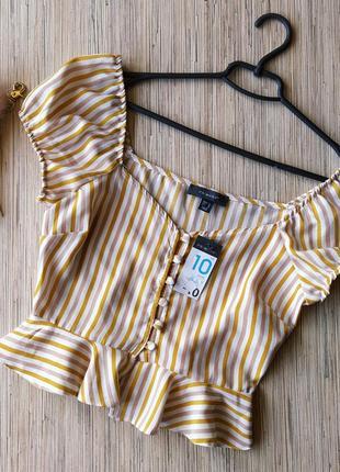 Милая натуральная вискозная блуза на пуговках в полоску