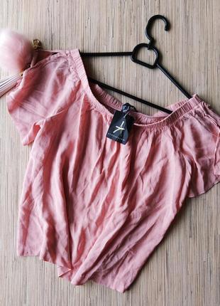 Нежная пудровая блуза с опущенными плечиками