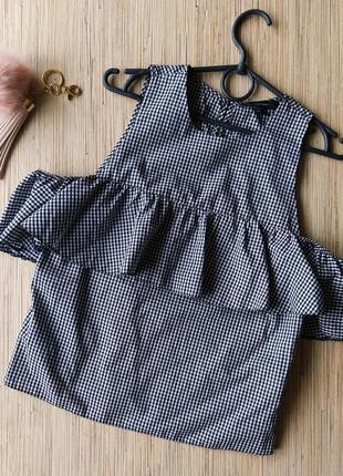 Стильная хлопковая блуза в клетку с открытыми плечиками