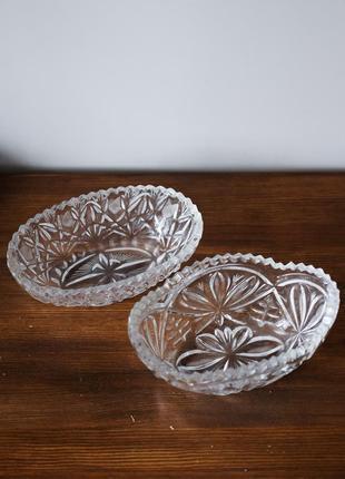 Набор 2 винтажные хрустальные вазы (фруктовницы). советский винтаж ссср посуда