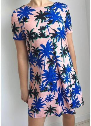 Платье, сукня з пальмами, летние платье, легкое платье, urmoda, платье в принт, цветочное.