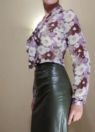 Блуза офис цветочный принт бант