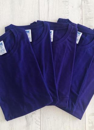 Фиолетовая футболка базовая однотонная 100% хлопок размеры