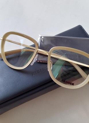 Новая оправа jil sander оригинал очки бежевые с матовым золотом жиль зандер