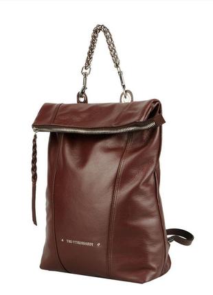 Новый кожаный рюкзак trussardi оригинал 100% кожа большой коричневый