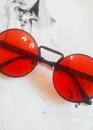 Круглые очки гоглы с пружинами красный в чёрном