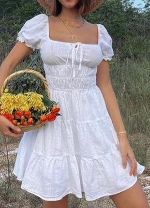 Трендовое белое ярусное короткое платье в стиле milkmade. р. 34-36