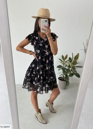 Женское шифоновое платье на подкладке