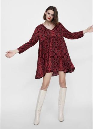 Короткое платье балахон из воздушной вискозы с карманами