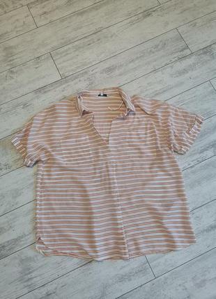 Блула, блузка легкая, полосатая  в оранжевую полоску
