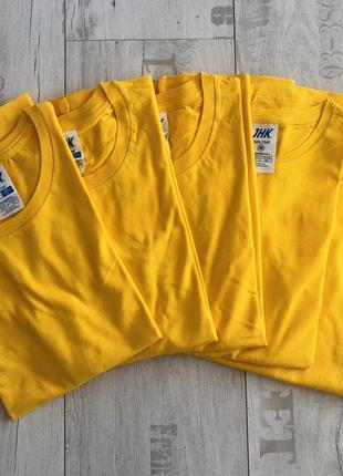 Желтая базовая однотонная футболка 100% хлопок размеры
