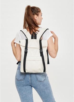 Крутой рюкзак ролл эко кожа. рюкзак эко кожа универсальный молочный