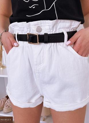 Белые джинсовые шорты на резинке багги