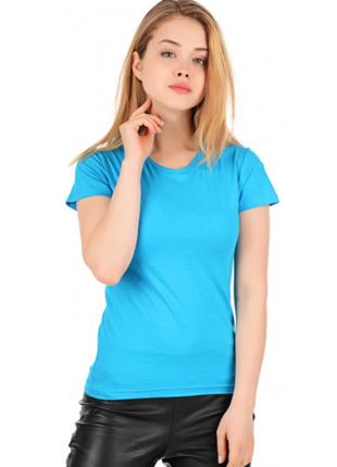 Бирюзовая базовая футболка голубая 100% хлопок