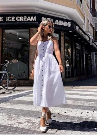 Новое платье, сарафан h&m, лен + хлопок. размер 38