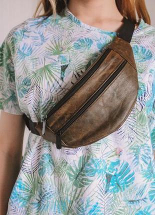 Бананка кожа шкіра замша эко-сумка на пояс ручная работа мини песочная мраморная б2