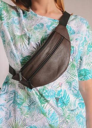 Бананка кожа шкіра замша эко-сумка на пояс ручная работа мини коричневая матовая темная б3