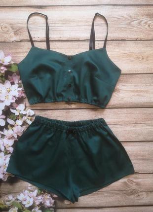 Хлопковая пижама, комплект, зеленая пижама