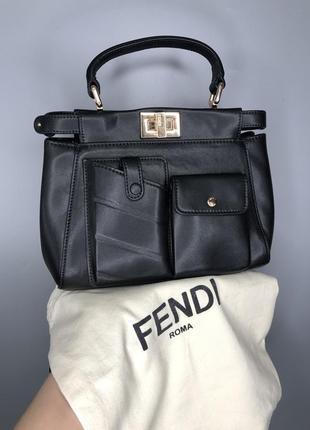 Fendi peekaboo чёрная мини сумка маленькая кожаная клатч сумочка без длинной ручки