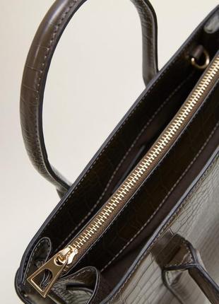 Mango tote сумку каркасная лаковая сумка крокодил тоут кросбоди вместительная змеиная кожа rundholz3 фото