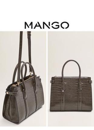 Mango tote сумку каркасная лаковая сумка крокодил тоут кросбоди вместительная змеиная кожа rundholz