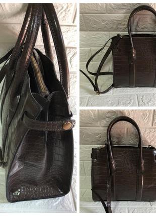 Mango tote сумку каркасная лаковая сумка крокодил тоут кросбоди вместительная змеиная кожа rundholz6 фото