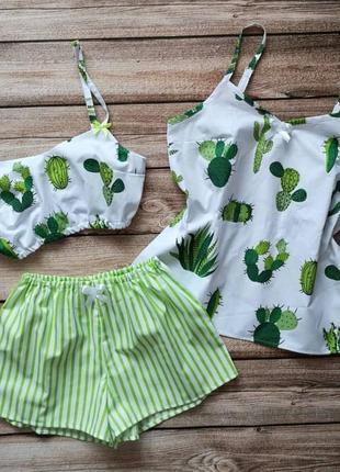 Хлопковая пижамка, яркая пижама в кактусы. пижамные шорты. летний комплект