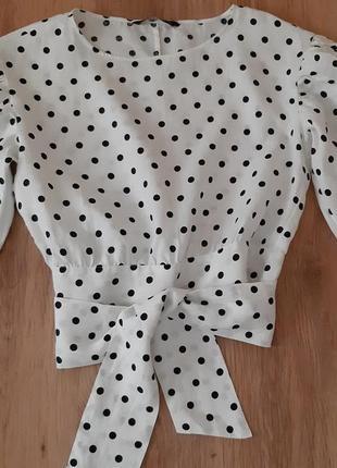 Льняная блуза zara  с пышными рукавами